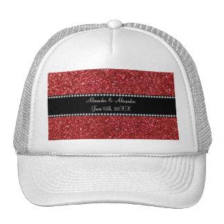 Red glitter wedding favors trucker hat