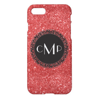 Red Glitter with Black Circle - iPhone 7 case
