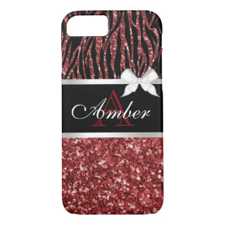 Red Glitter Zebra Name iPhone 8/7 Case