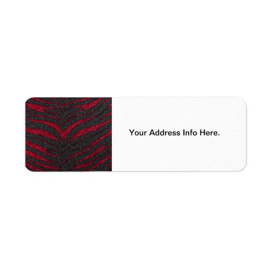 Red Glitter Zebra Print Return Address Label