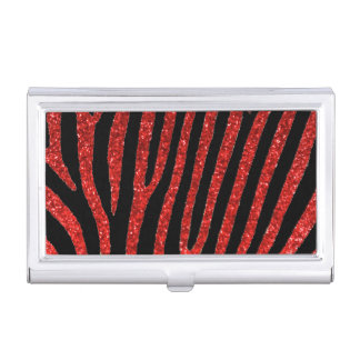 Red glitter zebra stripes business card holder