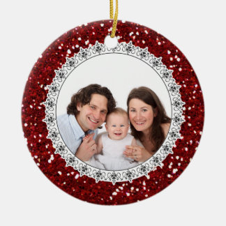 Red Glittery Baby's First Christmas Ornament Photo