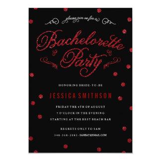 Red Glitz & Glitter Bachelorette Party Invitation