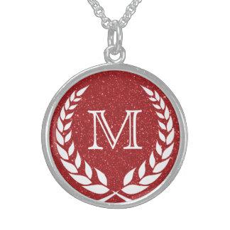 Red Glitz Wreath Frame Monogram Sterling Silver Necklace