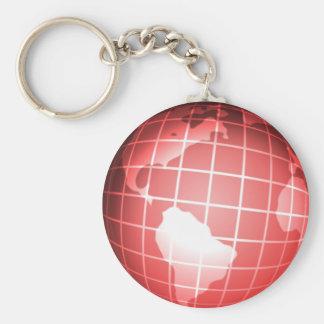 Red Globe Basic Round Button Keychain