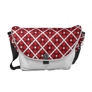 Red Globes, White Rhombuses Retro Pattern Commuter Bags