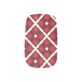 Red Globes, White Rhombuses Retro Pattern Minx Nail Art