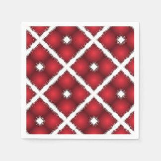 Red Globes, White Rhombuses Retro Pattern Paper Napkins