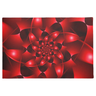 Red Glossy Fractal Spiral Door Mat