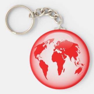 Red Glossy Globe Basic Round Button Keychain