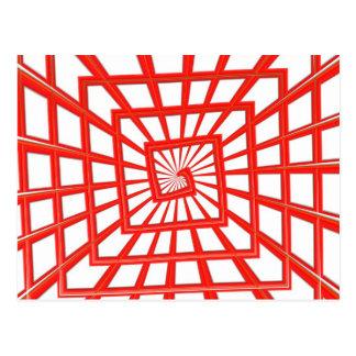red glossy swirl postcard