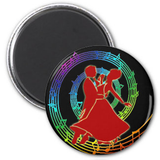 Red glowing dancing couple on colourful  music magnet