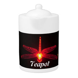 Red Glowing Dragonfly Teapot