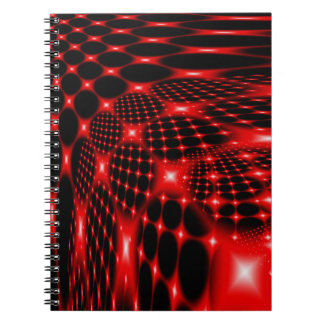 Red glowing net fractal note book