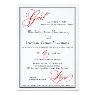 Red God is Love Christian Wedding Invitations
