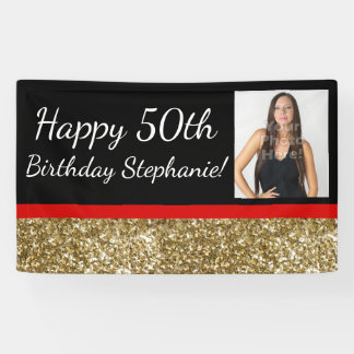 Red Gold 50th Fabulous Photo Birthday Party Banner