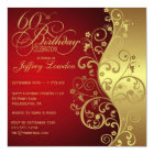 Red & Gold 60th Birthday Party Invitation
