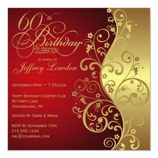 red gold 60th birthday party invitation zazzle ca