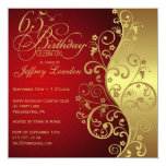 Red & Gold 65th Birthday Party Invitation