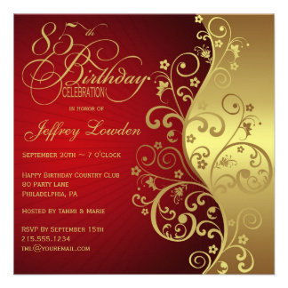 Red Gold 85th Birthday Party Invitation