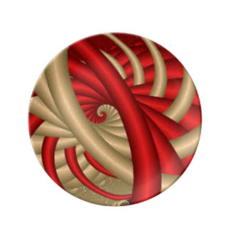 REd & Gold Abstract Pattern Plate