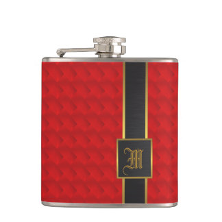 Red, gold and leather flasks