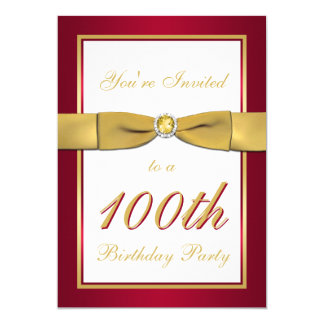 Red, Gold, and White 100th Birthday Invitation