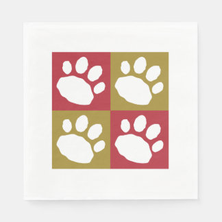 Red, Gold, and White Animal Print Silhouette Disposable Napkin