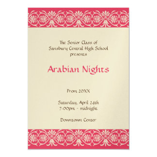 Red gold arabian junior senior prom formal dance card