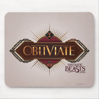 Red & Gold Art Deco Obliviate Spell Graphic Mouse Pad