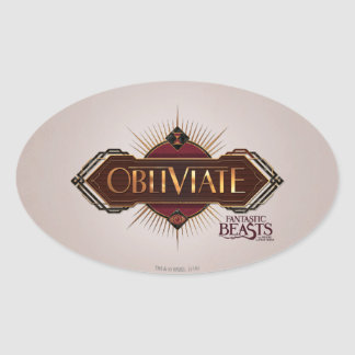 Red & Gold Art Deco Obliviate Spell Graphic Oval Sticker