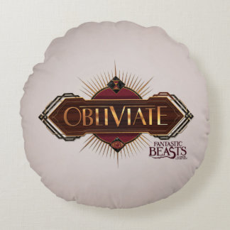 Red & Gold Art Deco Obliviate Spell Graphic Round Pillow