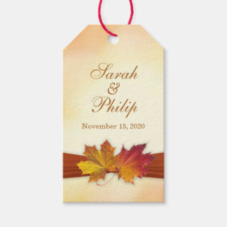 Red, gold autumn leaves Wedding Thank you Gift tag Pack Of Gift Tags