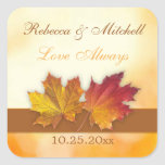 Red gold autumn maple leaves Wedding Square Sticker