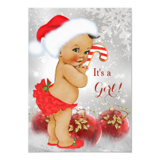 Red Gold Bauble Christmas Baby Shower Brunette Card