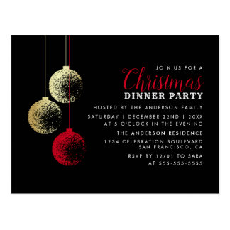 Red & Gold Baubles Elegant Christmas Dinner Party Postcard