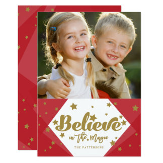 Red Gold Believe Christmas Holiday Photo Card