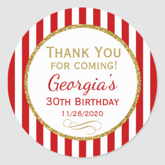 Red Gold Birthday Thank You For Coming Favor Tags Round Sticker