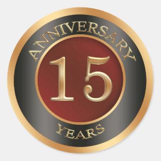 Red, gold, black 15th Wedding Anniversary Sticker