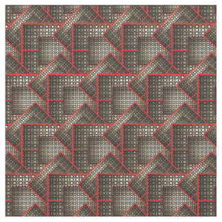 Red Gold Black Angled Squares by DelynnAddams Fabric
