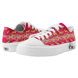 Red/Gold/Black Dachshund & Triangles Pattern Low-Top Sneakers
