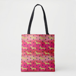 Red/Gold/Black Dachshund & Triangles Pattern Tote Bag