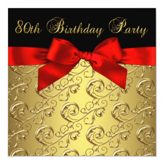 """Red Gold Black Damask Womans 80th Birthday Party 5.25"""" Square Invitation Card"""