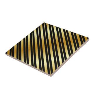 Red Gold Black Diagonal Stripes Tile
