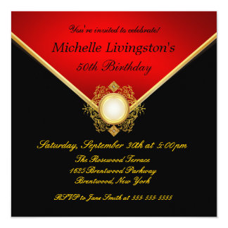 Red Gold Black Womens Birthday Party Invitations
