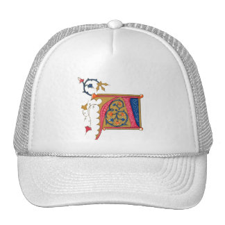 Red Gold Blue Ornate Monogram A Trucker Hat