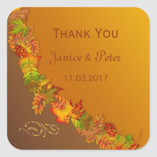 Red Gold Brown fall leaves Wedding Sticker