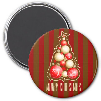 Red & Gold Bubbles Christmas Tree 3 Inch Round Magnet