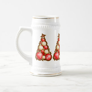 Red & Gold Bubbles Christmas Trees 18 Oz Beer Stein