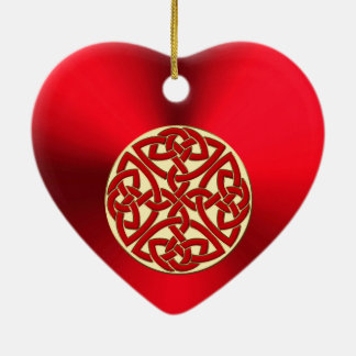 Red Gold Celtic Knot Heart Christmas Ornament